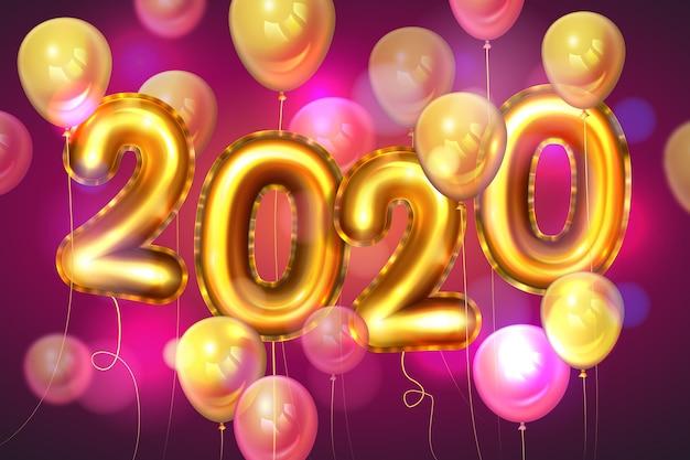 Fondo realista de globos de año nuevo