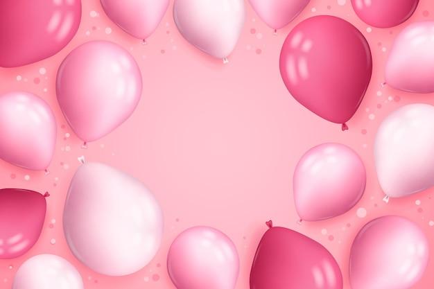 Fondo realista con globos y confeti.
