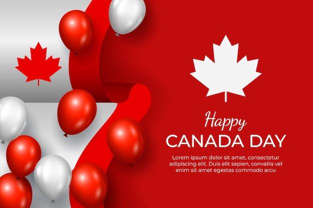 Fondo realista de globos del día de canadá