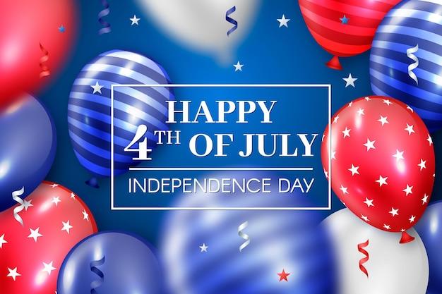 Fondo realista de globos del día de la independencia