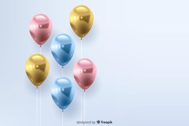 Fondo realista de globos tridimensionales y brillantes