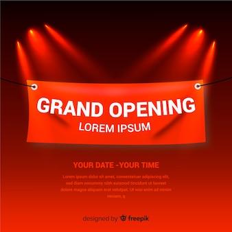 Fondo realista de gran inauguración con cartel de lona