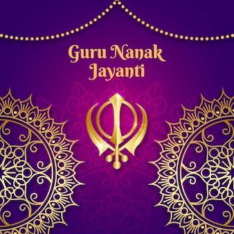 Fondo realista guru nanak jayanti con mandala