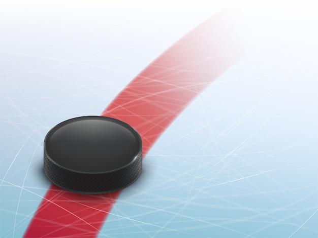 Fondo realista del hockey 3d, mofa para la bandera del anuncio, cartel.