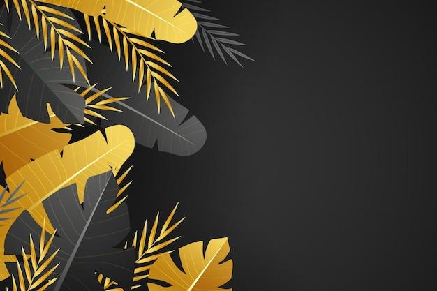 Fondo realista de hojas doradas