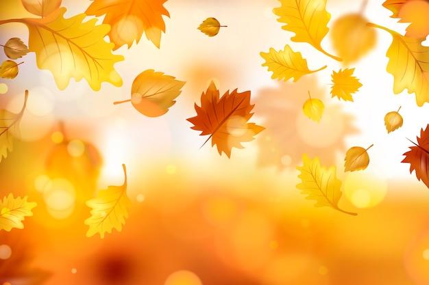 Fondo realista de hojas de otoño