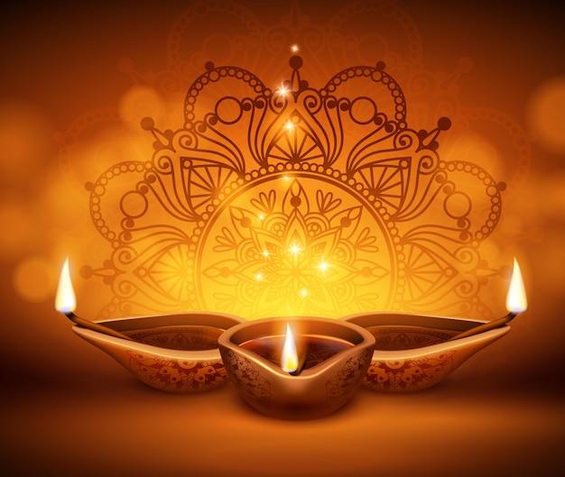 Fondo realista de linternas de diwali con velas y luces borrosas