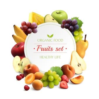 Fondo realista de marco de frutas