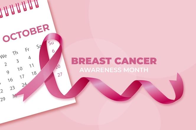 Fondo realista del mes de concientización sobre el cáncer de mama
