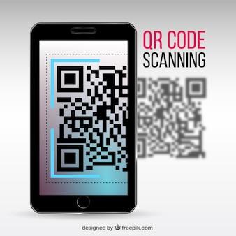 Fondo realista de móvil escaneando un código qr