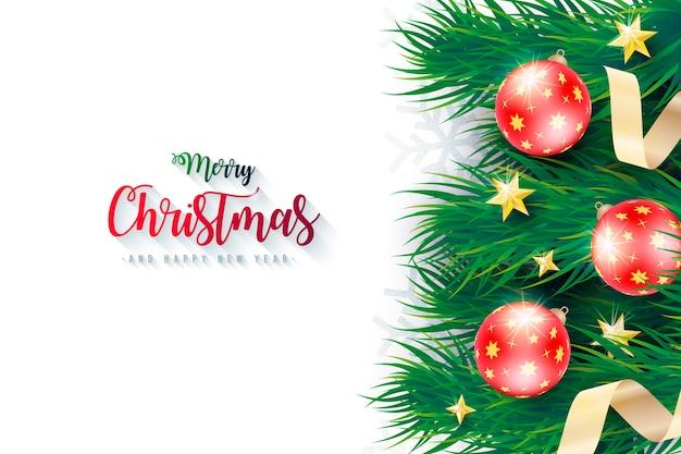 Fondo realista de navidad con ramas verdes