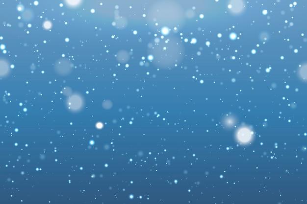 Fondo realista de nieve con copos de nieve borrosas