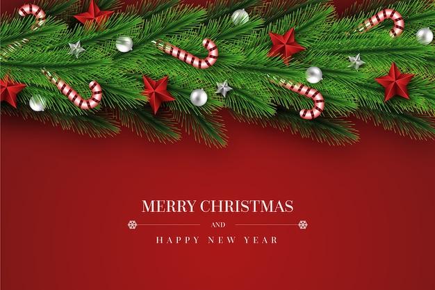 Fondo realista de oropel de navidad con bastones de caramelo