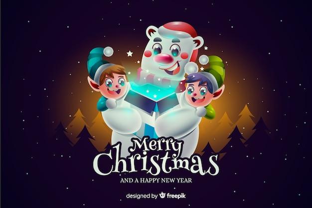 Fondo realista de oso polar de navidad