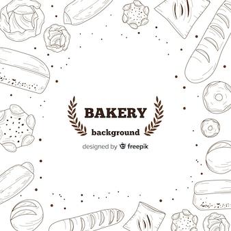 Fondo realista de panadería dibujado a mano