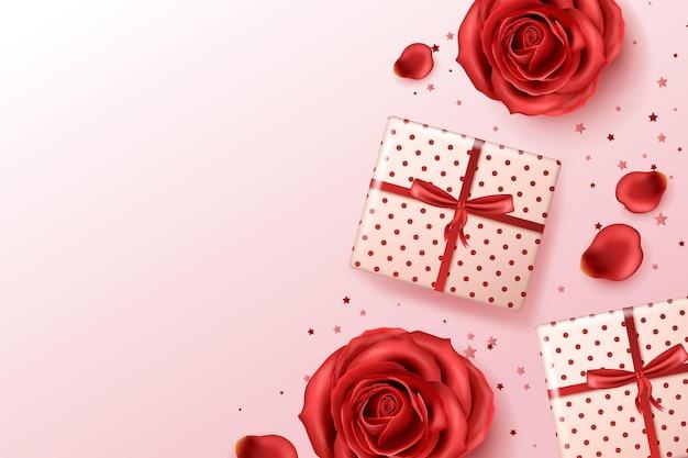 Fondo realista con rosas rojas y regalos.