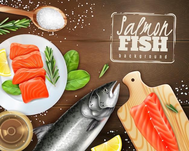 Fondo realista con salmón crudo con diferentes hierbas en mesa de madera
