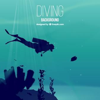 Fondo realista de submarinismo con submarinista y algas