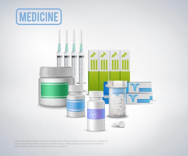 Fondo realista de suministros médicos