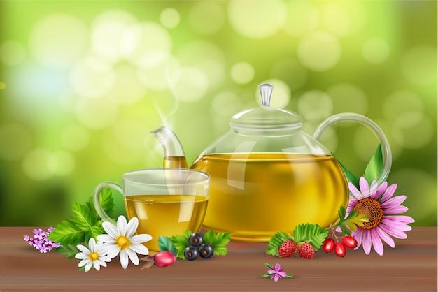 Fondo realista con té verde en taza y olla hierbas flores y bayas en superficie de madera