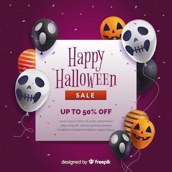 Fondo realista de venta de halloween con globos