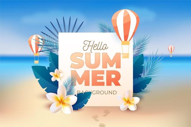 Fondo realista de verano con playa