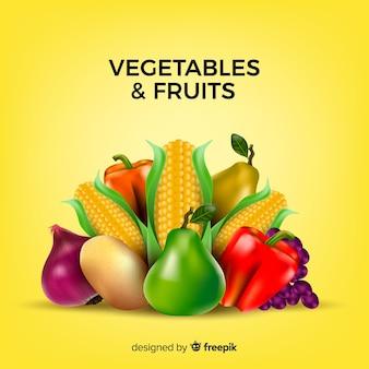 Fondo realistas de frutas y verduras