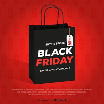 Fondo de rebajas de black friday con bolsa de compra
