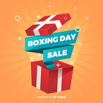 Fondo de rebajas boxing day en diseño plano