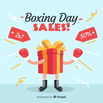 Fondo de rebajas de boxing day en diseño plano