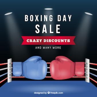Fondo de rebajas boxing day con guantes de boxeo