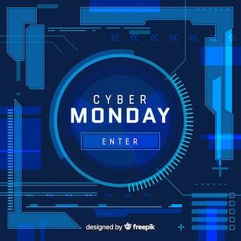 Fondo rebajas de cyber monday en estilo neón