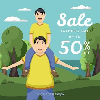 Fondo de rebajas del día del padre en diseño plano
