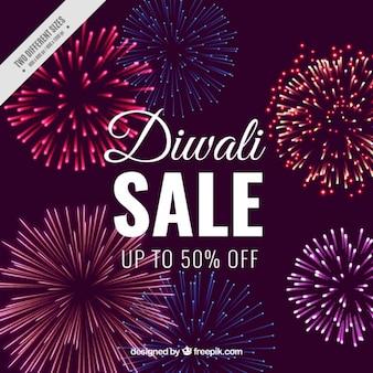 Fondo de rebajas de diwali con fuegos artificiales