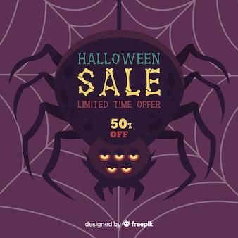 Fondo de rebajas de halloween con araña