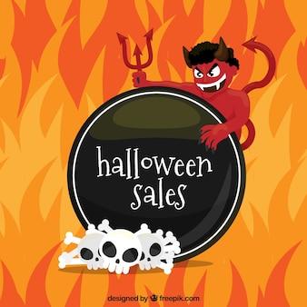 Fondo de rebajas de halloween con demonio y llamas