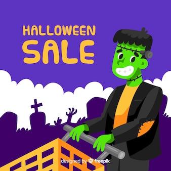 Fondo de rebajas de halloween en diseño plano