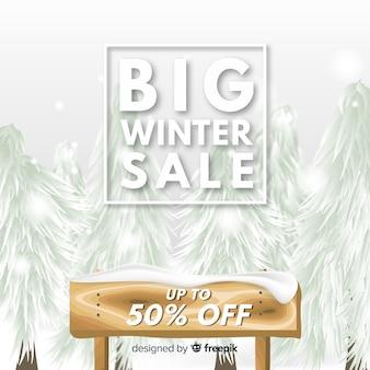 Fondo rebajas invierno cartel cubierto de nieve