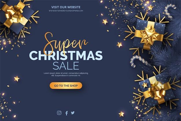Fondo de rebajas de navidad con decoración azul y dorada