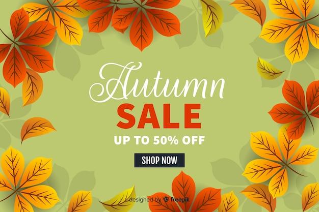 Fondo de rebajas de otoño en diseño plano