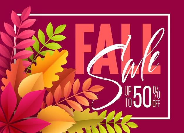 Fondo de rebajas de otoño con hojas de otoño