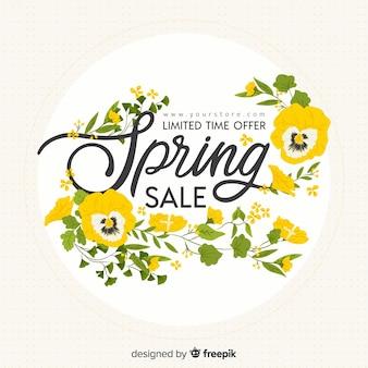 Fondo de rebajas de primavera en diseño plano