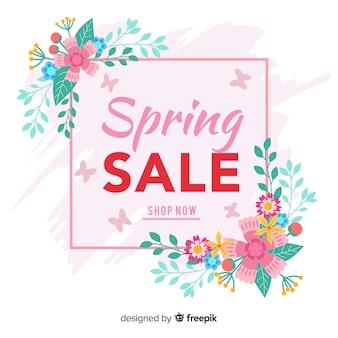 Fondo rebajas primavera plano colorido