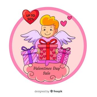 Fondo rebajas san valentín cupido dibujos animados