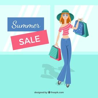 Fondo de rebajas de verano con mujer de compras