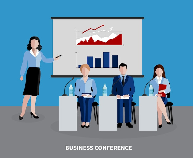 Fondo de recursos humanos con cuatro personas que participan en la conferencia de negocios plana.