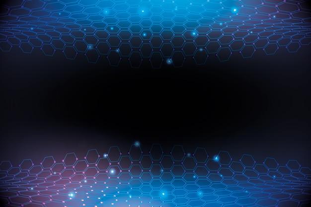 Fondo de red de panal hexagonal futurista
