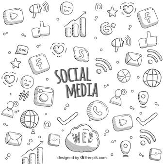 Fondo de redes sociales dibujado a mano