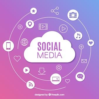 Fondo de redes sociales con diseño plano