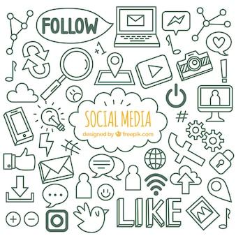 Fondo de redes sociales con estilo de dibujo a mano